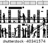 Editable vector silhouette of people in a library with all elements as separate objects - stock photo