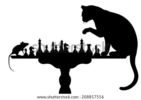 Editable vector silhouettes of a cat and mouse playing chess with all elements as separate objects - stock vector