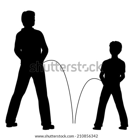 Editable vector silhouettes of a man and boy urinating together - stock vector
