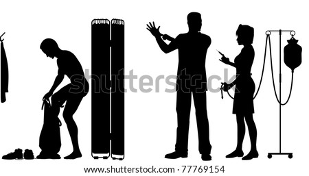 Editable vector silhouettes of a nurse and doctor about to exam a patient - stock vector