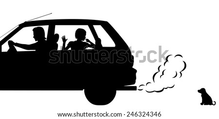 Editable vector silhouettes of a puppy being abandoned by a family driving away - stock vector