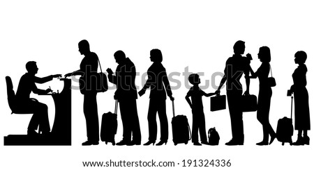 Editable vector silhouettes of a queue of people at an immigration desk with all figures and luggage as separate objects - stock vector