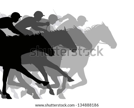 Editable vector silhouettes of a very close horse race - stock vector