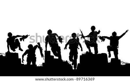 Editable vector silhouettes of armed soldiers charging forward with each man as a separate object - stock vector