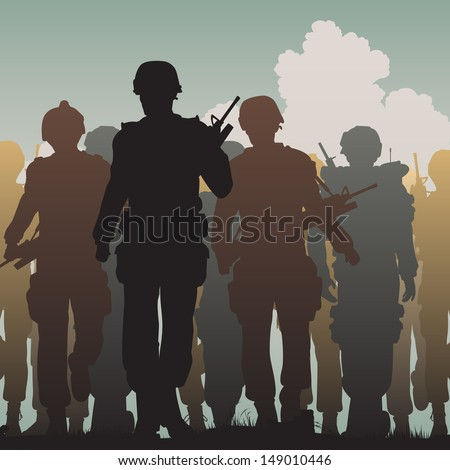 Editable vector silhouettes of armed soldiers walking together  - stock vector