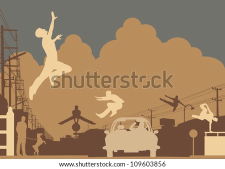 Editable vector silhouettes of men doing parkour in an urban street scene - stock vector