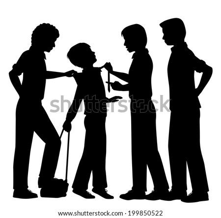 Editable vector silhouettes of older boys bullying a younger boy with all figures as separate objects - stock vector