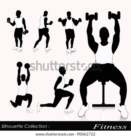 Editable vector silhouettes of people exercising in the gym - stock vector