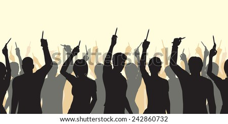 Editable vector silhouettes of people holding up pencils in support of freedom of expression with all figures as separate objects - stock vector