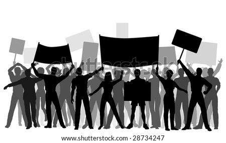 Editable vector silhouettes of protesters and banners with all elements as separate objects - stock vector