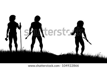 Editable vector silhouettes of three cavemen hunters with spears tracking animals - stock vector