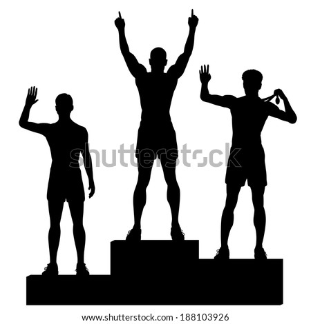 Editable vector silhouettes of three male athletes celebrating on a medal podium with each figure as a separate object - stock vector