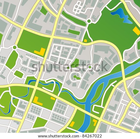 Editable vector street map of a fictional generic town. - stock vector