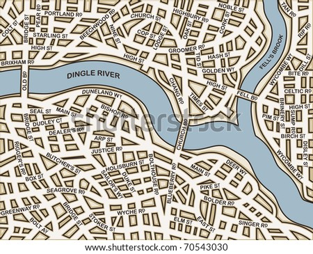 Editable vector street map of a generic city with names on a separate layer - stock vector