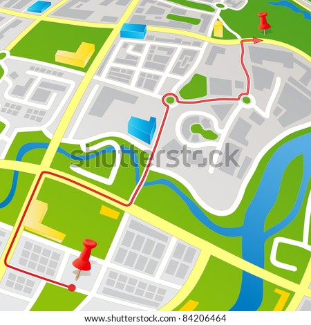 Editable vector street map of a generic city with push pins. All 3D buildings, Arrows and Push Pins are on separate layers. - stock vector