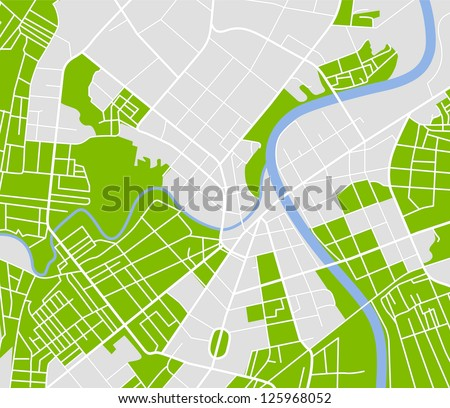 Editable vector street map of town. Vector illustration. - stock vector