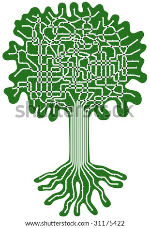 Editable vector subway map in shape of a tree - stock vector