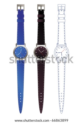 editable watch design - stock vector