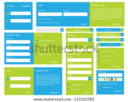 Editable web form with trendy flat design - stock vector