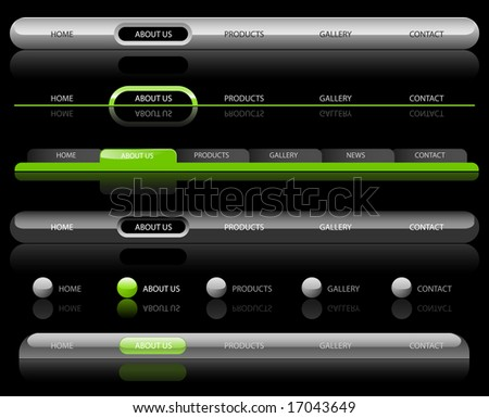 Editable Website Navigation Templates on Black - Vector - stock vector