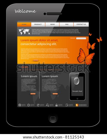 Editable website template, phone design - stock vector