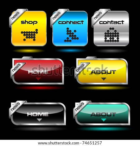 Editable website vector buttons wth glossy and metallic effects - stock vector