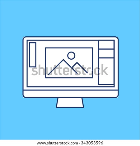 editing picture in photo editor software on personal all in one computer photography vector linear icon and infographic | illustrations of gear and equipment for photographers  on blue background - stock vector