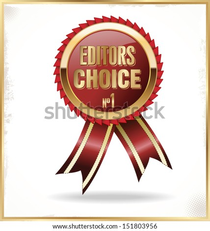 Editors Choice red label with ribbons - stock vector