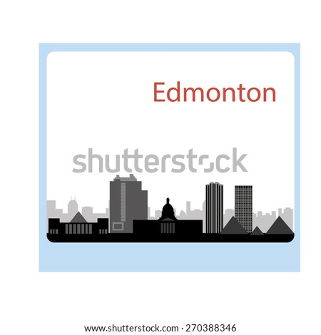 Edmonton, Canada skyline. Detailed silhouette. Vector illustrati