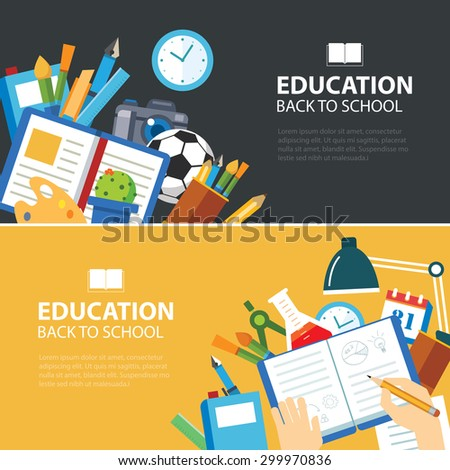 Online Education Elearning Banner Flat Design Stock Vector ...