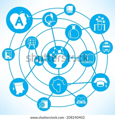 education and creative thinking concept info graphic network with blue theme - stock vector