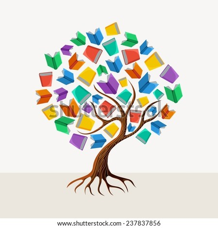 Education and learning concept with colorful abstract tree book illustration. EPS10 vector file organized in layers for easy editing. - stock vector