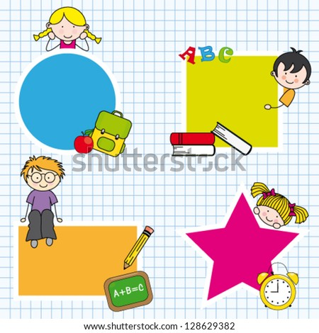 Education and school icon set. Space for text - stock vector