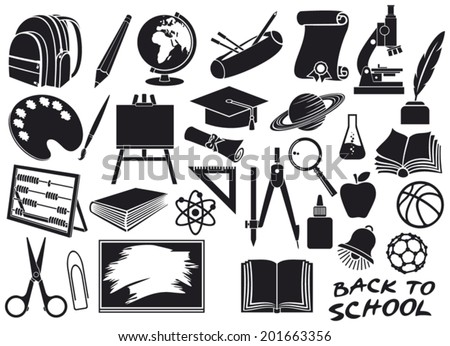 education and school icons set (diploma, pencil box, school compasses, easel, scissors, bell, book, bag pack, globe, paint brush, pencil, abacus, school board, graduation cap, microscope, ruler) - stock vector