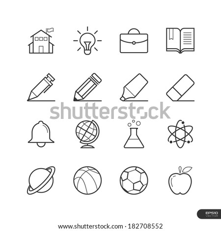 Education and School Icons set - Vector illustration - stock vector