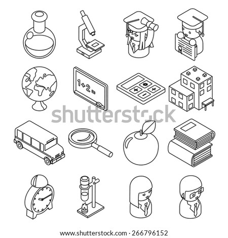 Education and school isometric 3d line icons. Student and bus, calculator and monochrome design. Vector illustration - stock vector