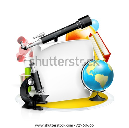Education and Science frame, vector - stock vector