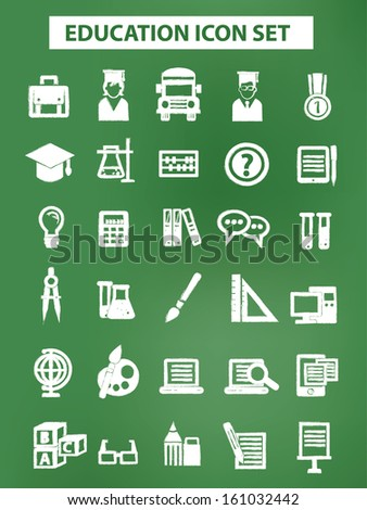 Education and science icons,Chalk version,On blackboard background,vector