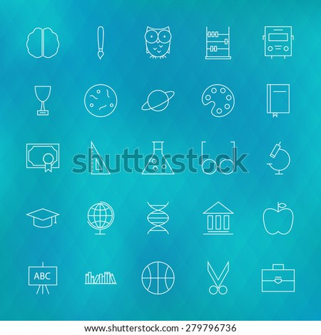 Education and Science Line Icons Set over Polygonal Blurred Background. Vector Set of Education and Knowledge Modern Thin Line Icons for Web and Mobile over Polygonal Blurred Background - stock vector