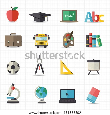Education back to school icons - stock vector