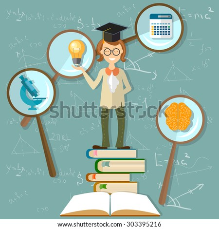 Education background teacher students professor back to school power knowledge open book brain university blackboard sine cosine microscope math count study research vector illustration - stock vector