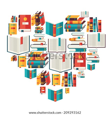 Education background with books in flat design style. - stock vector
