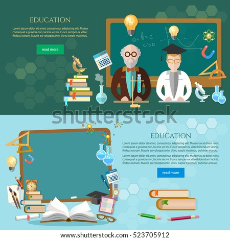 Education banner, student and teacher, blackboard. Back to school template. Education vector