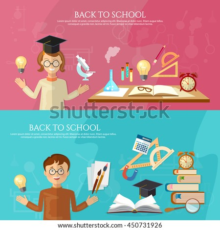 Education banner student at the school board back to school chemistry experiment education background vector illustration - stock vector