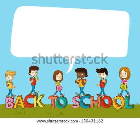 Education cartoon kids over back to school text with social media speech bubble. Vector layered for easy editing. - stock vector