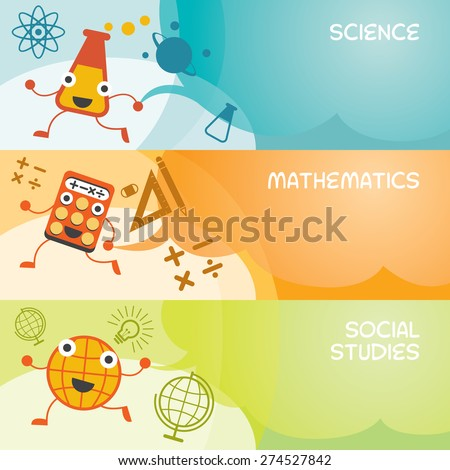 Education Characters Banner, Science, Math, Social, Kindergarten, Preschool, Kids, Learning and Study Concept - stock vector