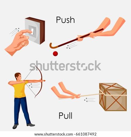Education Chart Physics Push Pull Diagram Stock Vector 661087492 ...