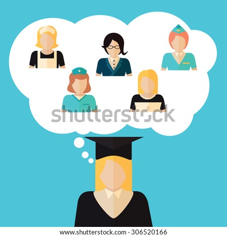 Education choice illustration with girl deciding future profession. Banner made in flat design with student woman and professions. - stock vector