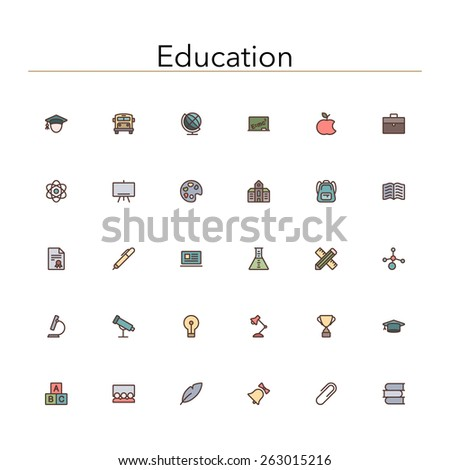 Education colored line icons set. Vector illustration. - stock vector