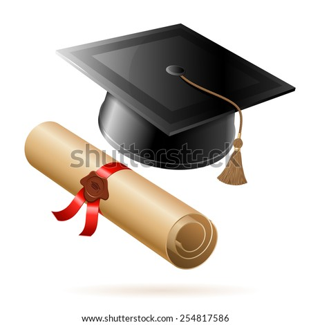 Education concept - Graduation Cap and Diploma. Vector isolated on white background. - stock vector